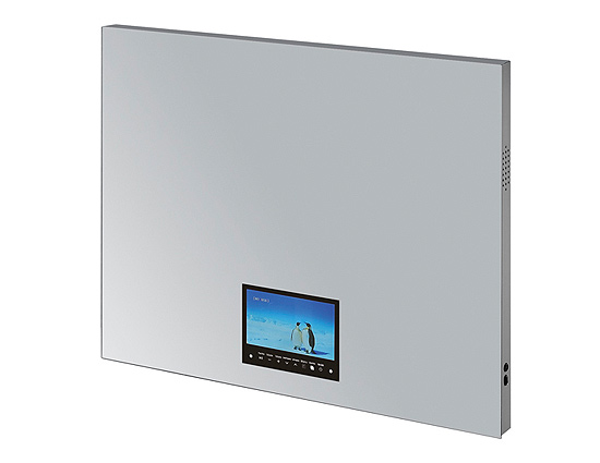 linear interior systems medicine cabinets and backlit mirrors asm am028 bathroom mirror with integrated tv touch screen tv with mirror bathroom mirror with touchscreen bathroom mirror with aluminum cabinet image