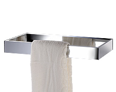 Polished chrome single rectangular towel bar with concealed surface mounting and lifetime warranty.