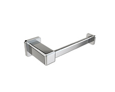 Polished chrome toilet paper holder with concealed square surface mounting and lifetime warranty.
