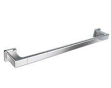 Polished chrome single towel bar with concealed square surface mounting and lifetime warranty that comes in both 18 and 24 inch models.