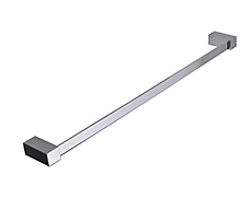 Slim design polished chrome single towel bar with concealed square surface mounting and lifetime warranty that comes in both 18 and 24 inch models.