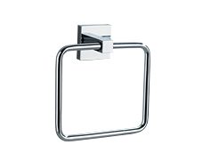 Polished chrome single towel ring, rounded corner square shape with concealed surface mounted design, comes with a lifetime warranty.