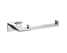 Polished chrome toilet paper holder with circular concealed surface mounting and lifetime warranty.