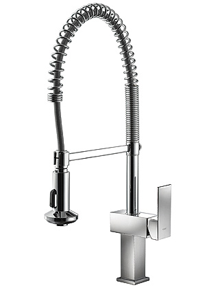 kitchen faucet, adjustable shower head, single lever sink mixer, single lever multi function, ceramic disk cartridge, braided supply lines, polished chrome faucet, UPC certified sink, one-handle high arc kitchen faucet, chrome faucet