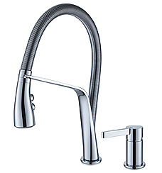 kitchen faucet with vegetable sprayer, single lever sink mixer, single lever multi function, ceramic disk cartridge, braided supply lines, polished chrome faucet, UPC certified sink, one-handle high arc kitchen faucet, chrome faucet